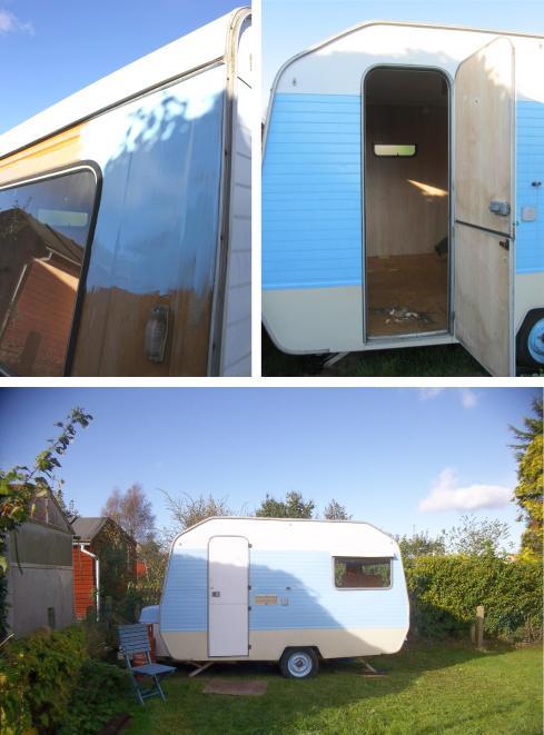 cassiefairys vintage caravan project painting exterior baby sky blue