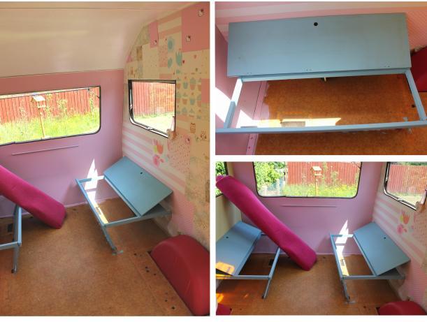 cassiefairy little vintage caravan project painting bed seats blue