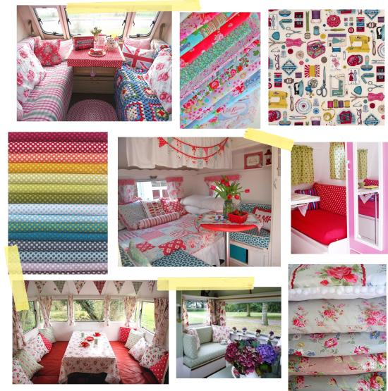 Cassiefairys caravan love pinterest board - ideas for vintage caravan makeover project interior soft furnishings