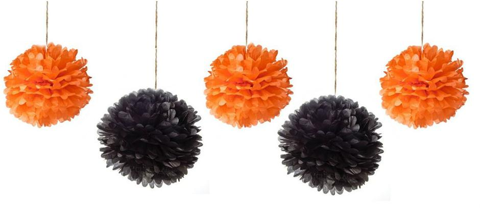 diy tutorial how to make halloween tissue paper pompoms decorations - Halloween Pom Poms