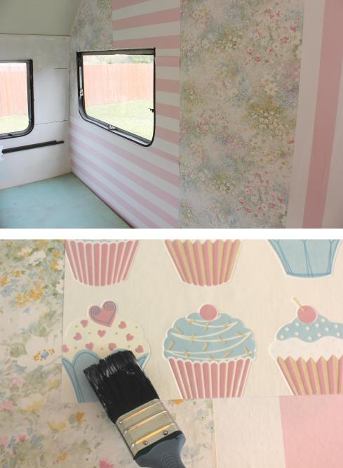vintage caravan renovation project patchwork feature wall wallpaper cassiefairy