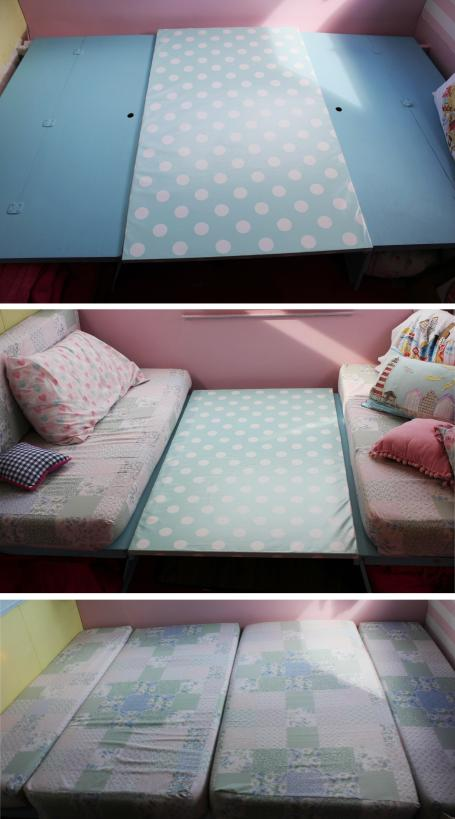 cassiefairys little vintage caravan project - covering a table with oilcloth to make into a double bed