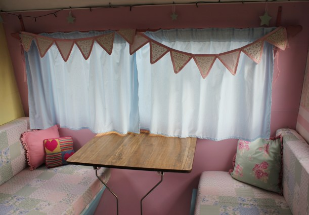 little vintage caravan project diy makeover sewing curtains