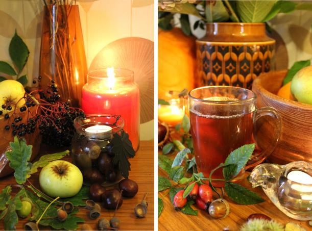 my retro living room autumn decor harvest floral arrangment and spiced apple juice