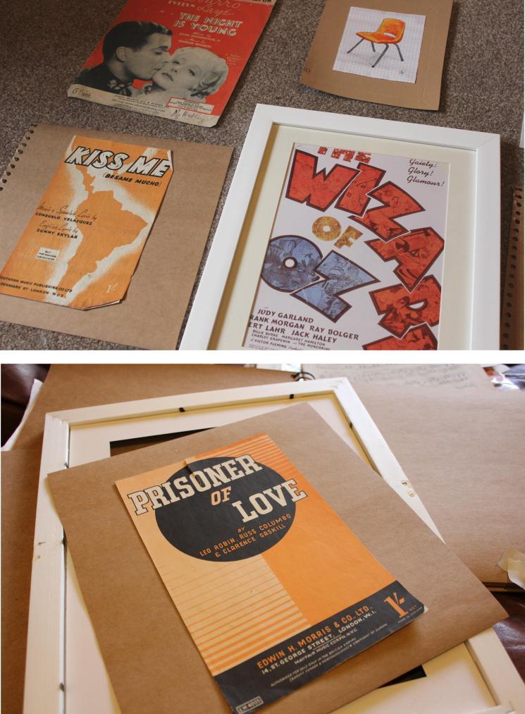 using sheet music covers for retro framed artwork