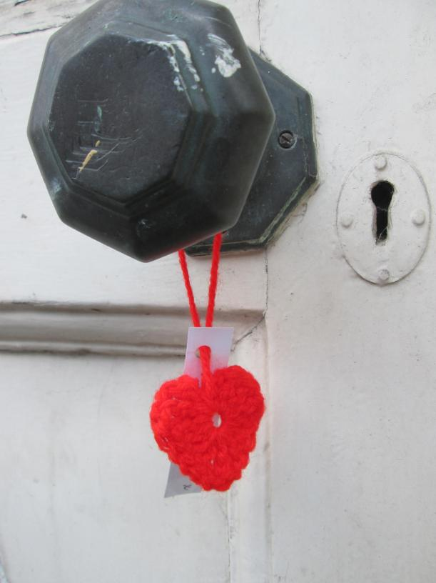 knitted heart found on a doorknob in cambridge