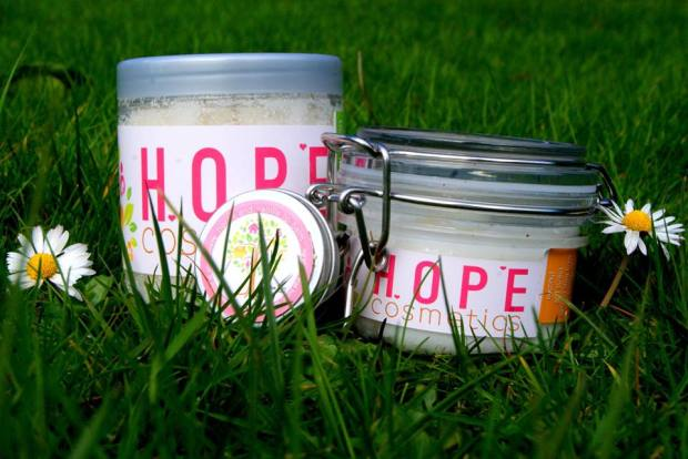HOPE cosmetics natural scrub and body butter