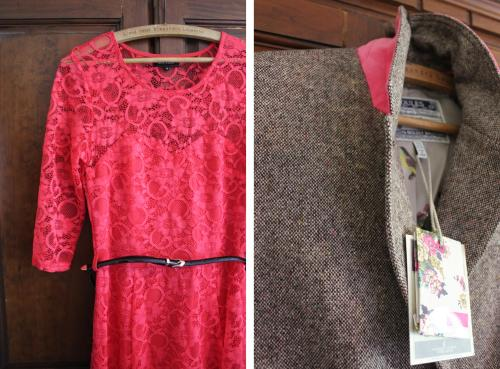 ladies fashion look for spring 2014 with pink new look dress and joules tweed blazer