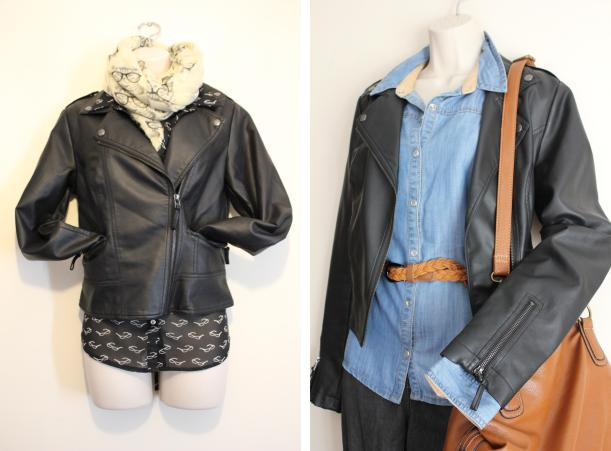 thrifty fashion styling - how to get more looks from one leather jacket