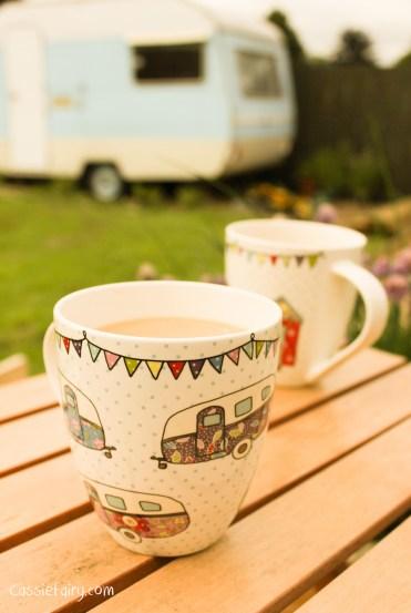 Great floral caravan and beach hut mugs