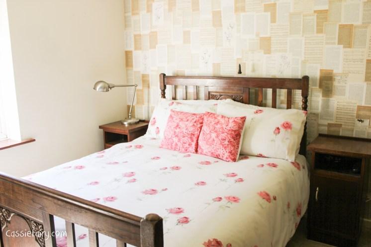 bedroom makeover rose bedding and rose walls-2