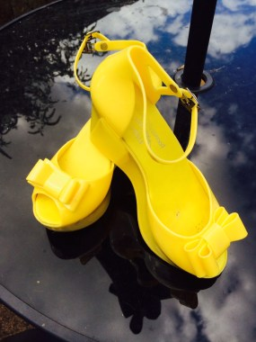 vinienne westwood jelly shoes yellow wedges