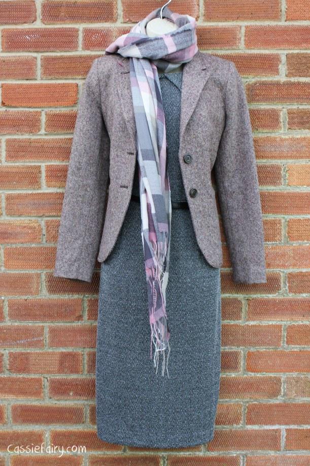 David Emanuel tweed dress styled 4 ways-5