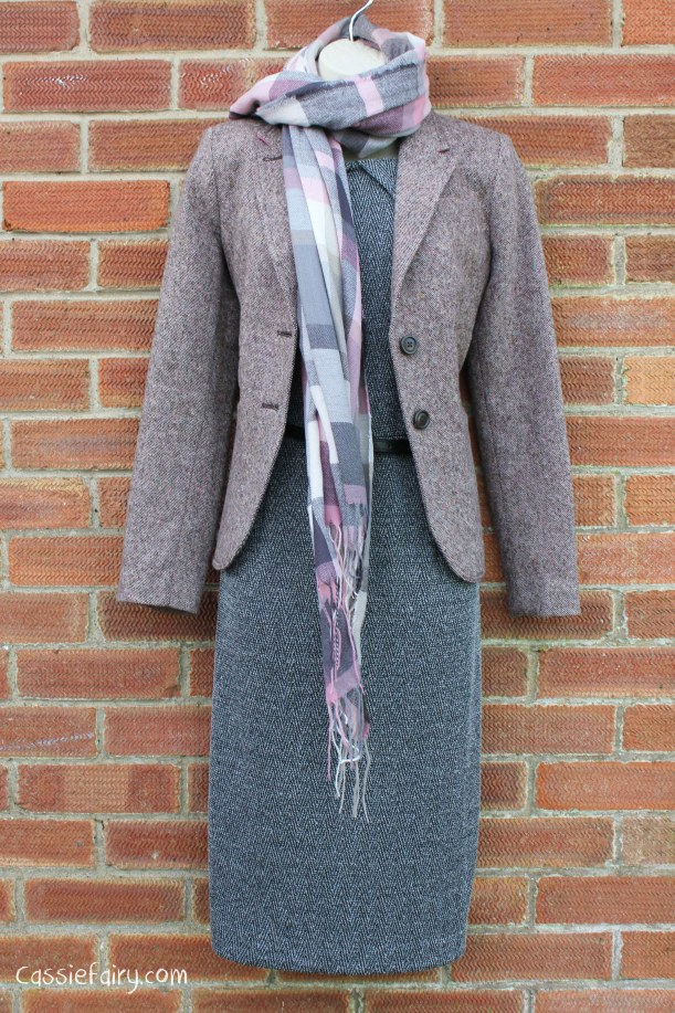 David Emanuel tweed dress styled 4 ways-5