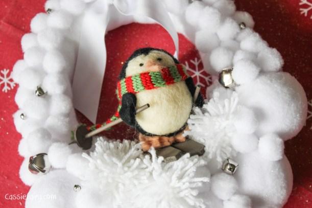 Deck the Door DIY snow ball christmas wreath-12
