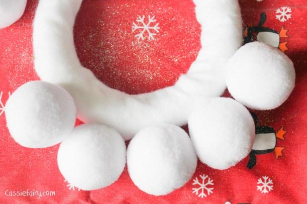 Deck the Door DIY snow ball christmas wreath-6