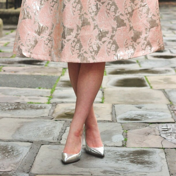 megans silver shoes from the briar rose blog