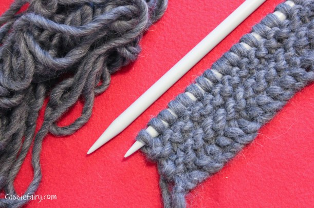 ombre colour block scarf knitting project-2