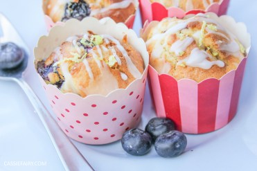 recipe for lemon and blueberry muffin cakes for afternoon tea on Valentines Day Mother's Day or birthday-12
