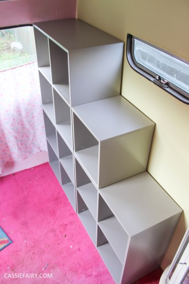 vertbaudet craft storage shelving solution for vintage caravan-7