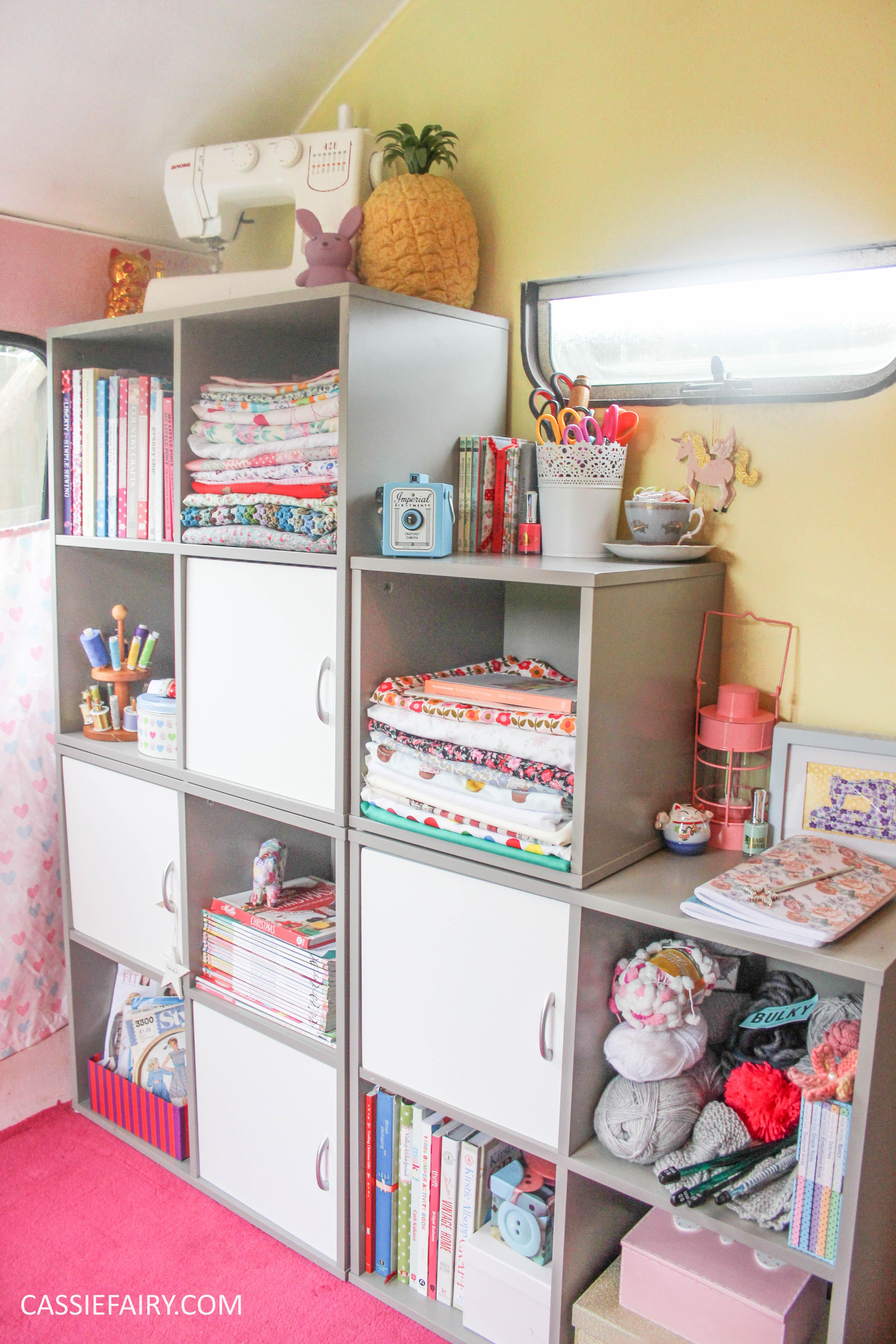 vintage caravan craft workshop - storage solution for sewing office-4