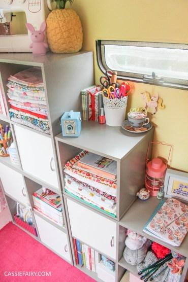vintage caravan craft workshop - storage solution for sewing office-5