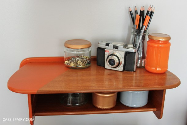 diy asymetric shelf makeover project_