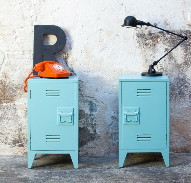 blue metal locker cabinets industrial style decorating colour blocking