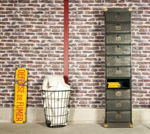 industrial factory style interior design metal rust brick