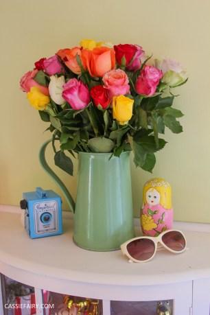 roses bouquet of flowers vintage caravan_-5