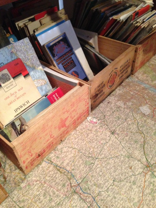 using vintage maps for flooring