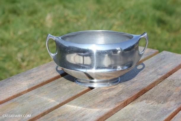 DIY polishing midcentury modern silvertea set picquot ware teapot-16