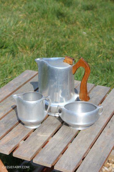 DIY polishing midcentury modern silvertea set picquot ware teapot-2