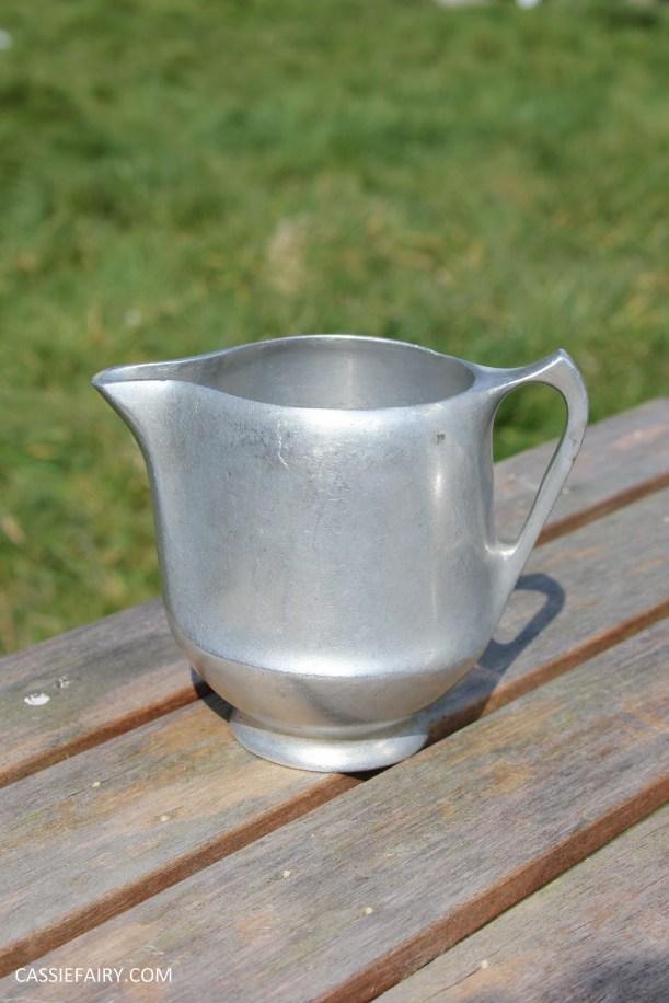 DIY polishing midcentury modern silvertea set picquot ware teapot-3