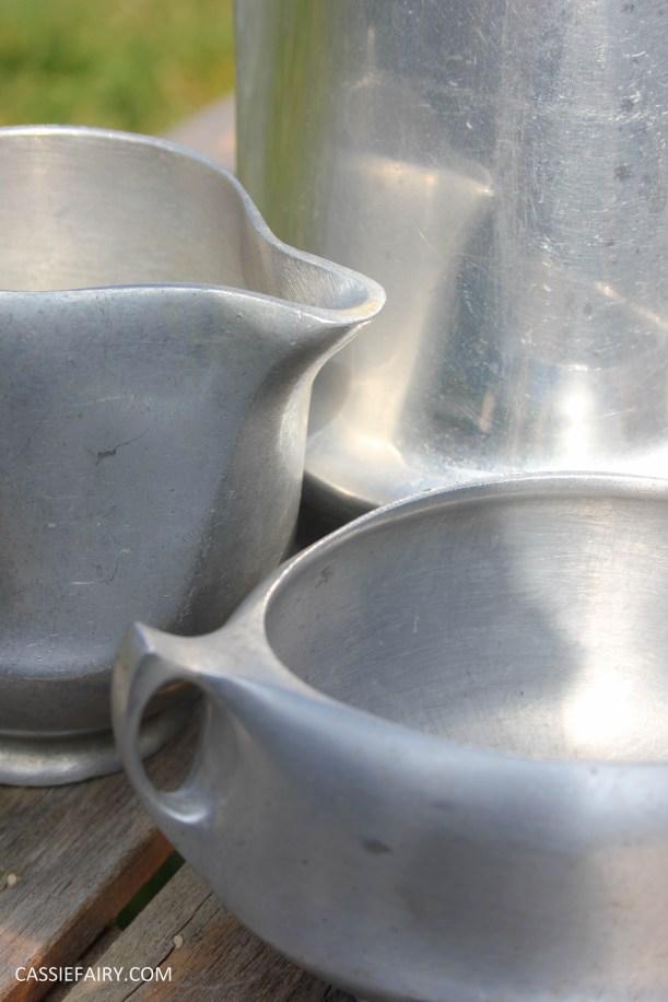 DIY polishing midcentury modern silvertea set picquot ware teapot-7