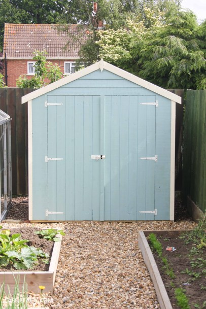 diy painting and installing small shed - duck egg blue beach hut in garden-18