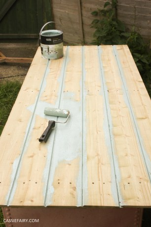 diy painting and installing small shed - duck egg blue beach hut in garden-4