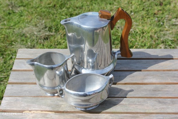 midcentury modern picquot ware teapot coffee set