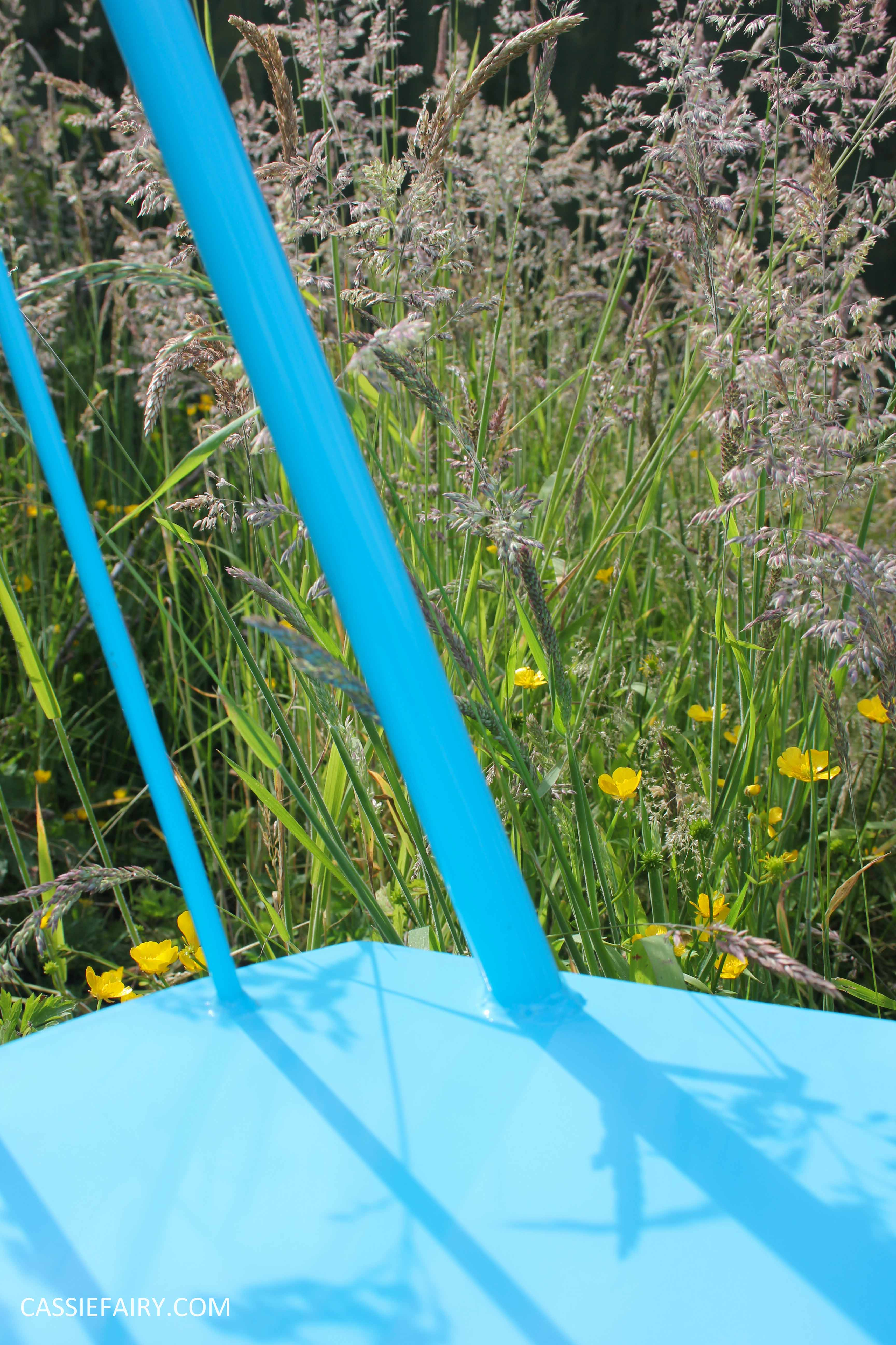 summer party - garden table and chairs in wild flower meadow-14