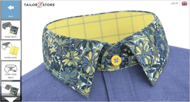 tailor store shirt design blue floral