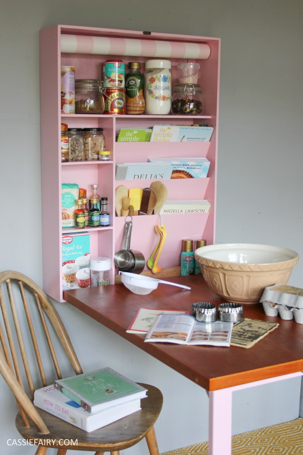 Cassiefairy kitchen diy project baking station step by step storage