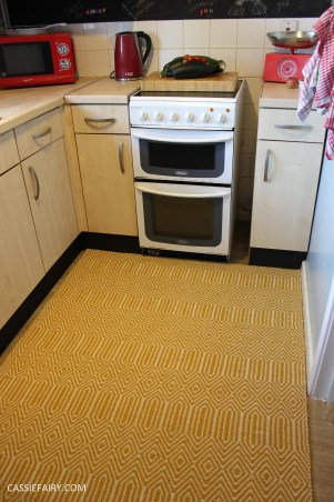 small kitchen makeover chalkboard paint yellow rug tiny room interior design blue walls-3