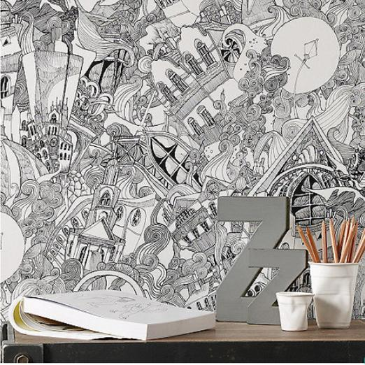 black and white graham and brown wallpaper lizzies doodle