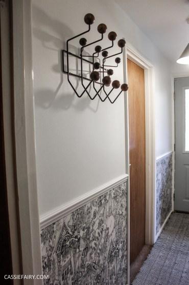 monochrome home interior design black and white decor hallway makeover dado rail rug-21