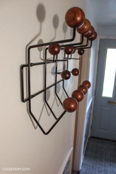monochrome home interior design black and white decor hallway makeover dado rail rug-22