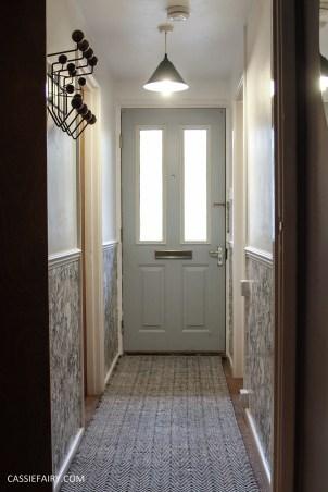 monochrome home interior design black and white decor hallway makeover dado rail rug-23