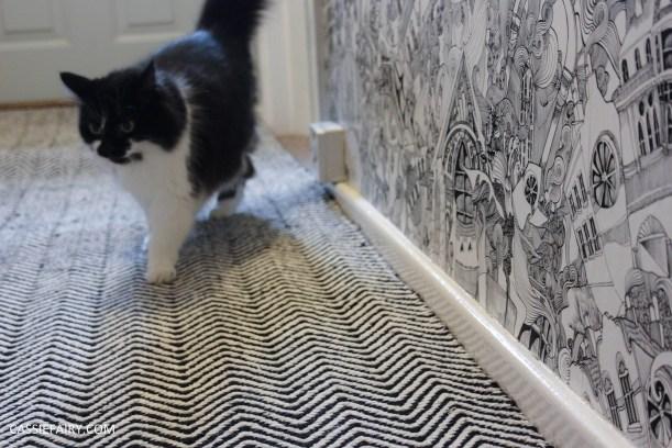 monochrome home interior design black and white decor hallway makeover dado rail rug-27