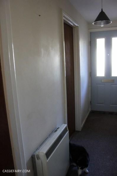 monochrome home interior design black and white decor hallway makeover dado rail rug-3