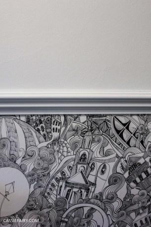 monochrome home interior design black and white decor hallway makeover dado rail rug-30
