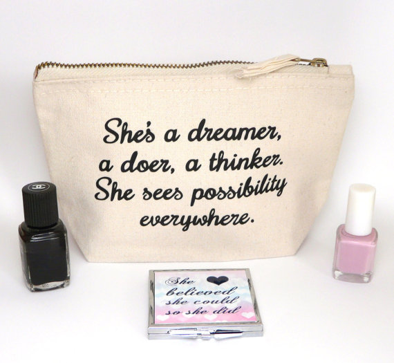 inspirational quote make up bag mirror woman
